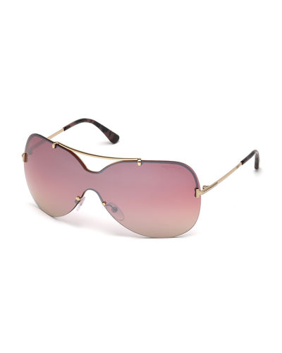 Ondria Metal Wrap Brow-Bar Sunglasses