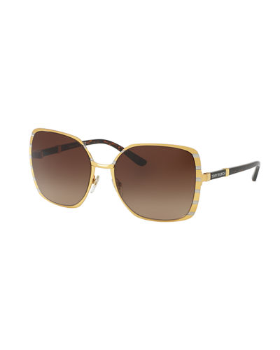 Striped Square Metal Sunglasses