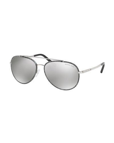 Michael Kors Aviator Sunglasses with Marbleized Detail