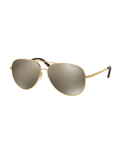 Michael Kors Mirrored Metal Aviator Sunglasses