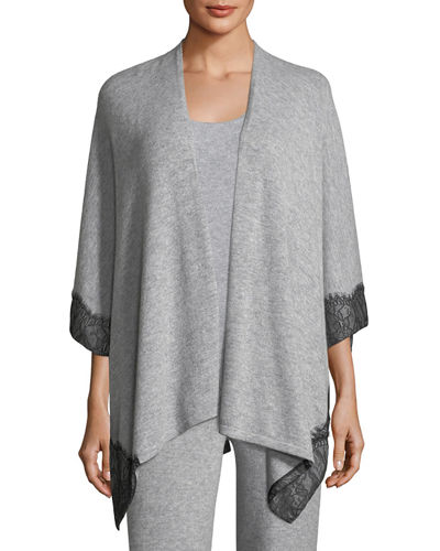 Cashmere Lace-Trimmed Shawl Cardigan