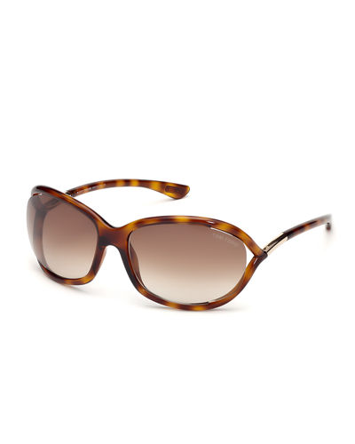 Jennifer Open-Temple Round Sunglasses