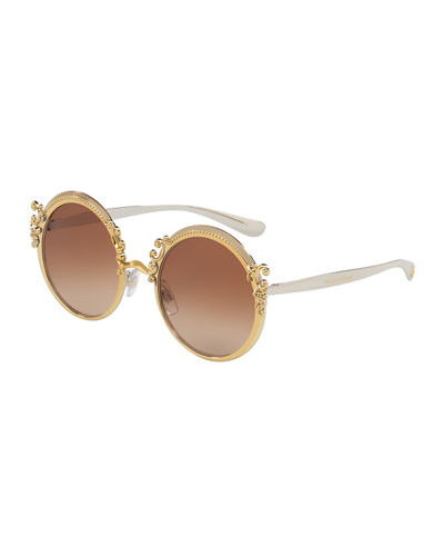 Round Metal Adorned Sunglasses