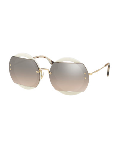 Miu Miu Round Cutout Acetate and Metal Sunglasses