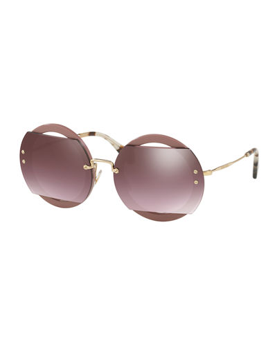 Round Cutout Acetate and Metal Sunglasses