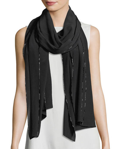 Bead-Trimmed Silk Crepe de Chine Scarf