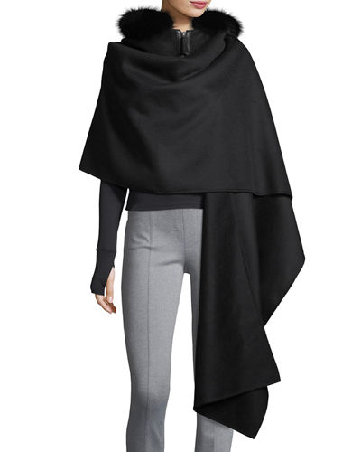 Helinax Hooded Wool Wrap Cape w/ Fur Trim