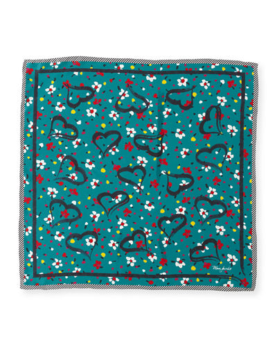 Painted Flower & Heart Square Silk Scarf