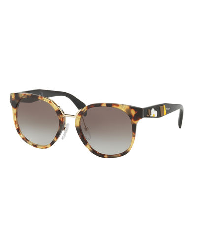 Two-Tone Round Acetate Sunglasses