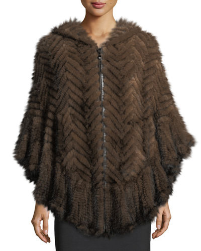 Herringbone Mink Fur Cape Coat