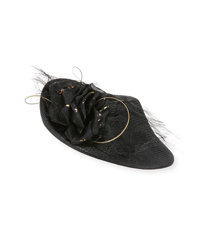 Jane Taylor Straw Disc Ostrich Feather Riding Hat