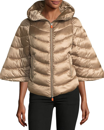 Iris Quilted Puffer Zip-Front Hooded Poncho