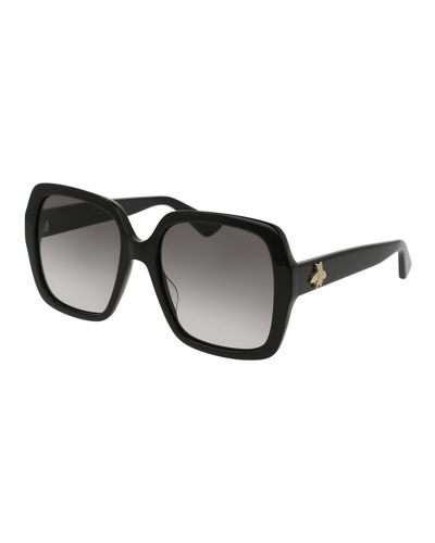 Square Bee & Logo Acetate Sunglasses