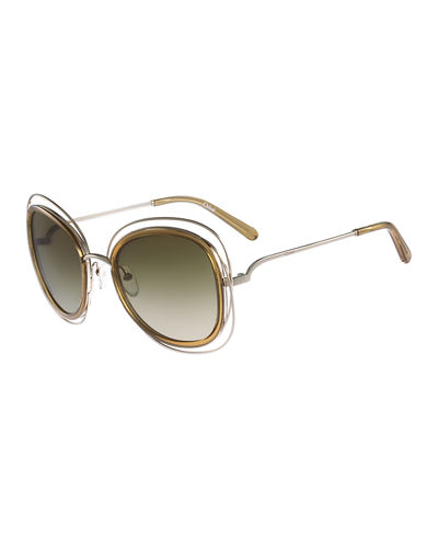 Carlina Trimmed Butterfly Sunglasses
