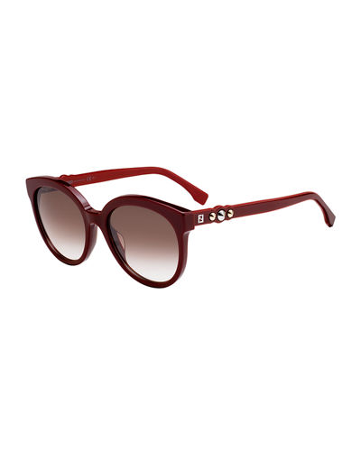 Studded Two-Tone Round Acetate Sunglasses