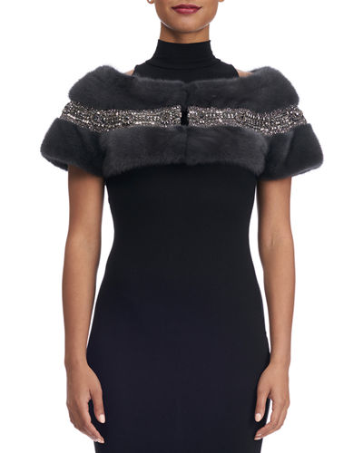 Mink Fur Capelet with Swarovski® Crystals