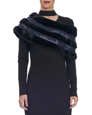 Swarovski® Crystal Beaded Mink Fur Stole