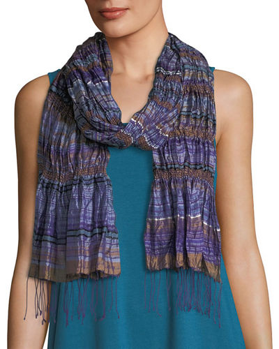 Hand-Loomed Silk Stripe Puckered Scarf