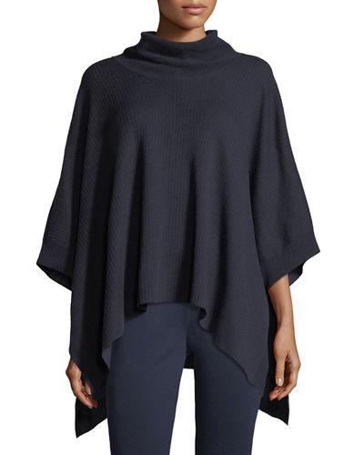 Cowl-Neck Wool Poncho