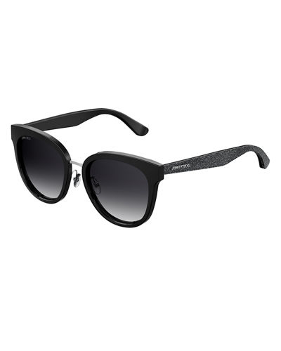 Jimmy Choo Cadefs Round Acetate Sunglasses w/ Glittered
