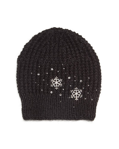 Crystal Snowflake Knit Beanie Hat