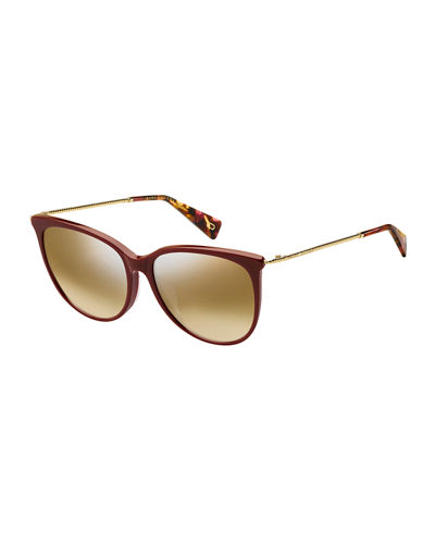 Mirrored Oval Acetate Sunglasses w/ Metal Twist Arms
