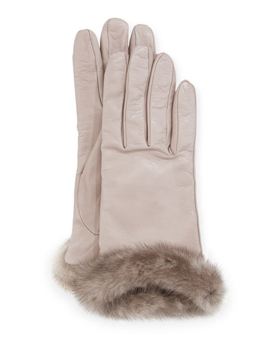 Leather Gloves w/ Mink Fur Cuffs