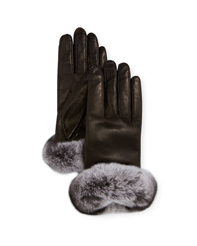 Leather Gloves w/ Rabbit Fur Cuffs