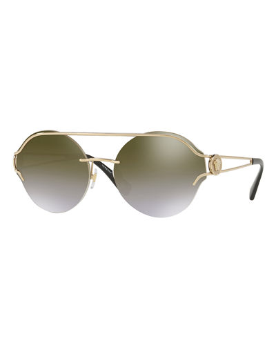 Round Rimless Open-Temple Sunglasses