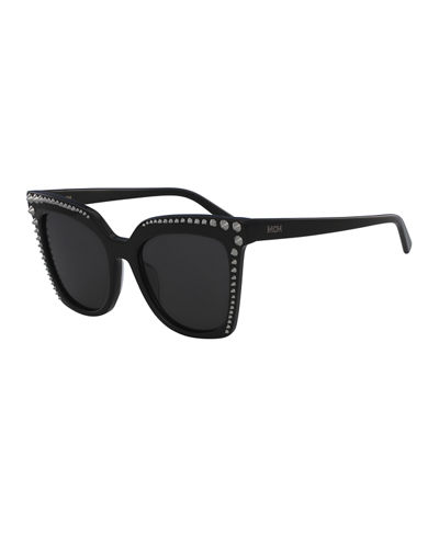 Square Cat-Eye Sunglasses w/ Stud Detail