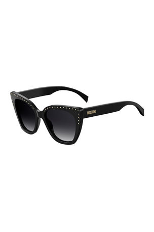 Moschino Cat Eye Studded Gradient Sunglasses