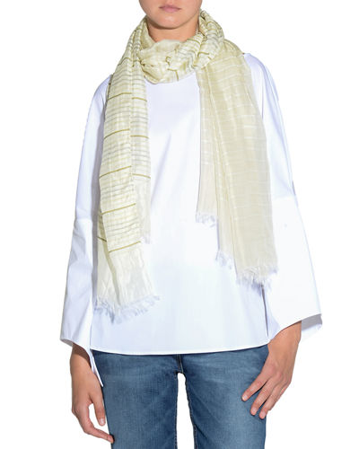 Striped Fringed-End Scarf