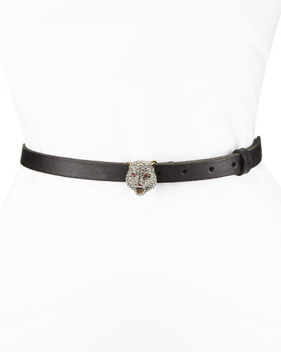 Skinny Leather Belt w/ Crystal Tiger Buckle