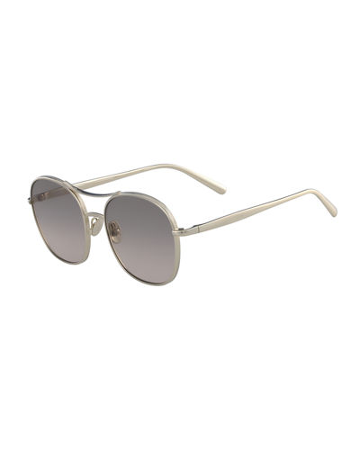 Nola Metal Aviator Sunglasses