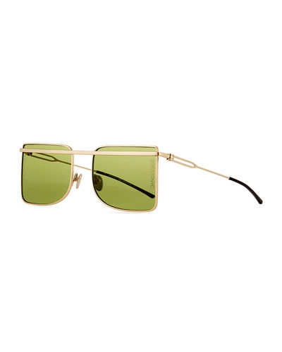 Metal Square Aviator-Style Sunglasses
