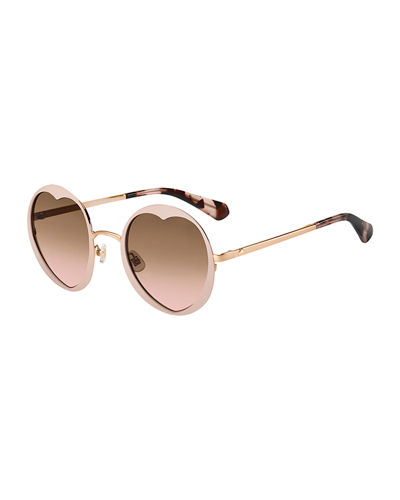 rosarias round heart metal sunglasses