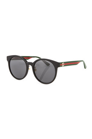 Gucci Round Web-Arms Acetate Sunglasses