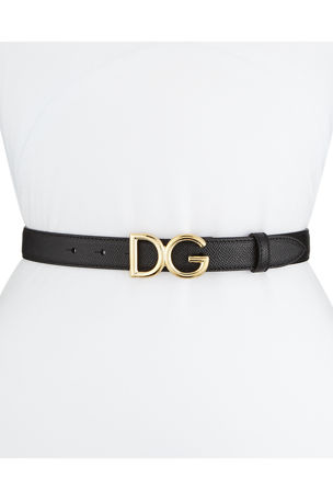 Dolce & Gabbana Leather Belt w/ Logo Buckle