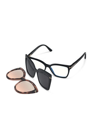 TOM FORD Square Blue-Block Optical Frames w/ Two Magnetic Sunglasses Clips