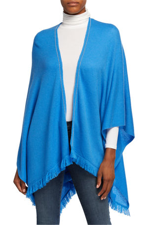 Neiman Marcus Cashmere Collection Cashmere Fringe Hem Shawl w/ Chain Trim