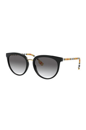 Burberry Icon Stripe Round Sunglasses