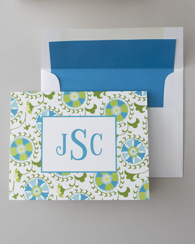 50 Suzani Folded Notes with Personalized Envelopes