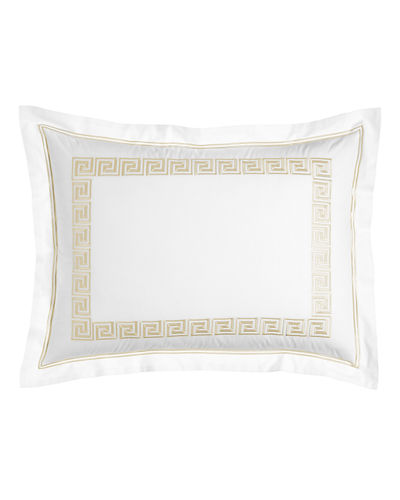 Standard White Greek Key Sham with Embroidery