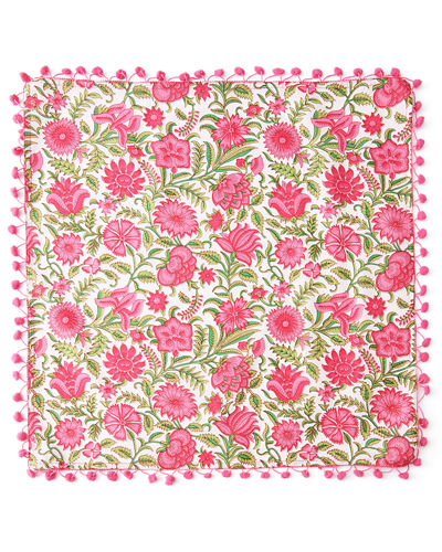 Floral-Print Napkins with Pom Poms, Set of 4