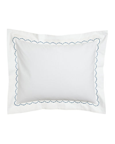 European Scallops Embroidered Sham