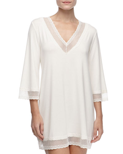 Eberjey Gisele 3/4-Sleeve Lace-Trim Tunic