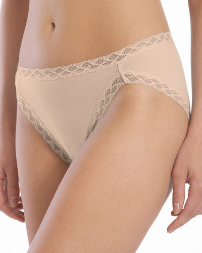 Bliss French Cut Lace Trimmed Briefs, Black/Cafe/White