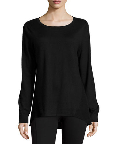 Jewel-Neck Cashmere Pullover