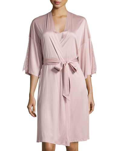 HanroConstance Lace-Inset 3/4-Sleeve Wrap Robe
