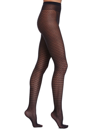 Wolford Wave-Pattern Sheer Tights